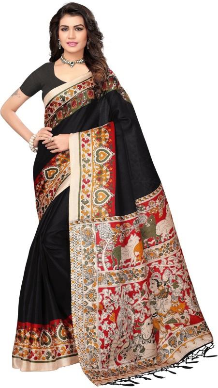 SNH Export Printed Fashion Khadi Saree(Black)