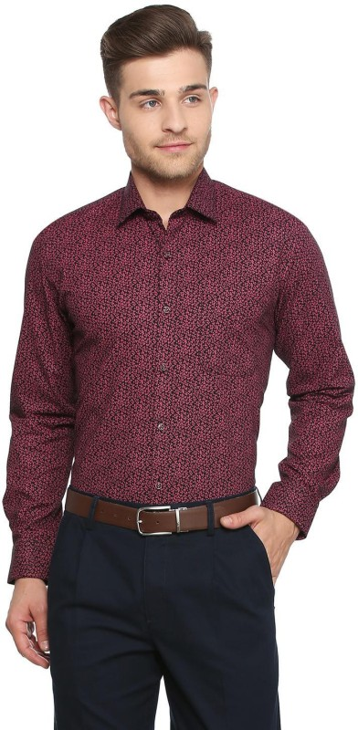 Peter England Men Printed Formal Maroon Shirt