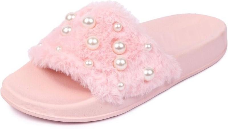 Brauch Pink Fur Pearl Sliders Slides