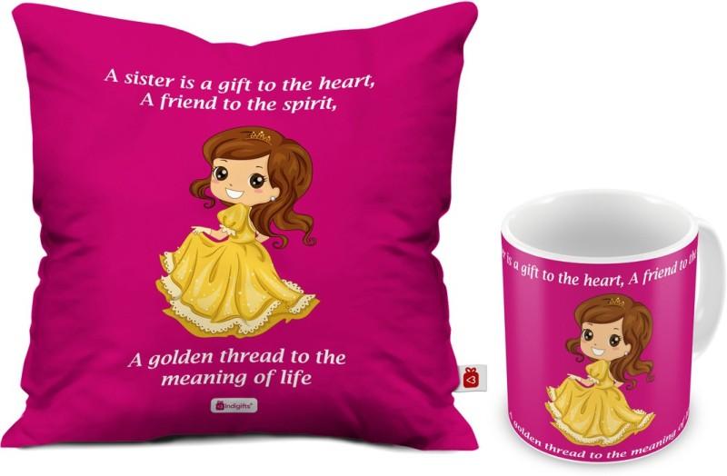 Indigifts Rakhi Gift Raksha Bandhan Happy Birthday For Sister Gifts Best IDSCOMAF381 Cushion Mug Set