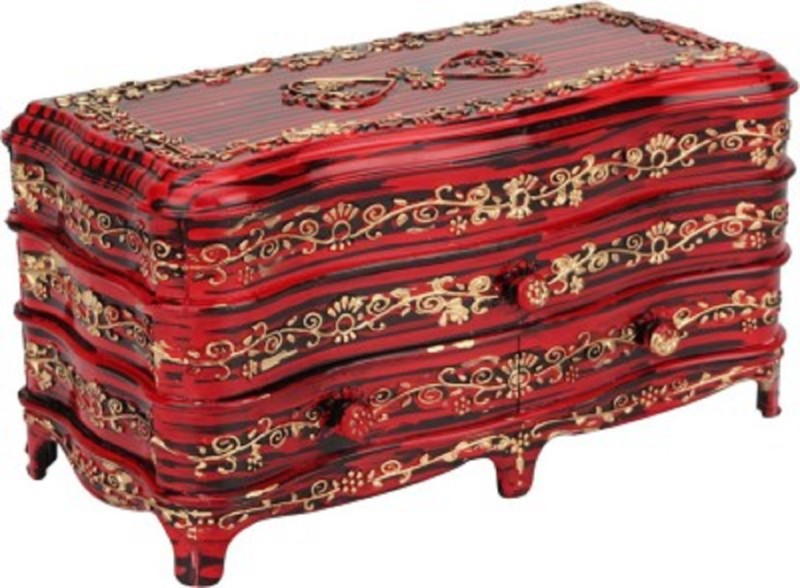 Tuelip Antique Rosewood Classic - 3 Plastic Multi Use Gift able Jewellery Box with Door jewellery and makeup Vanity Box(RoseWood)