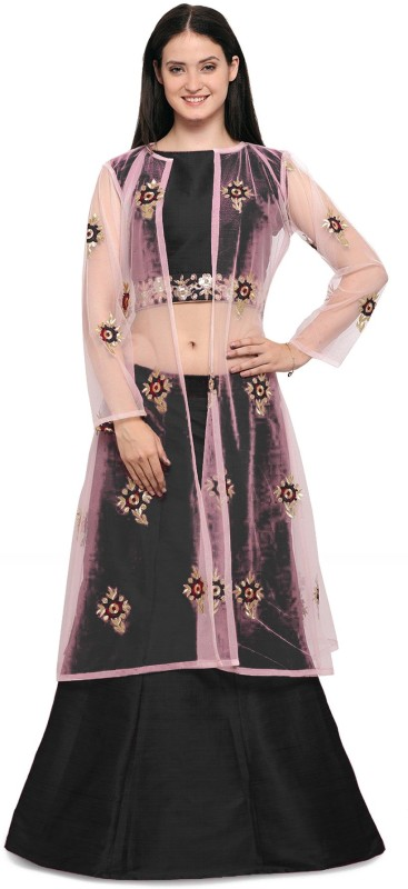 Fabcartz Solid Semi Stitched Lehenga Choli(Black)