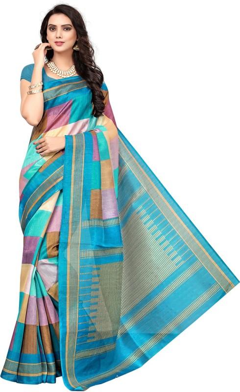 Active Printed Bhagalpuri Art Silk Saree(Light Blue)