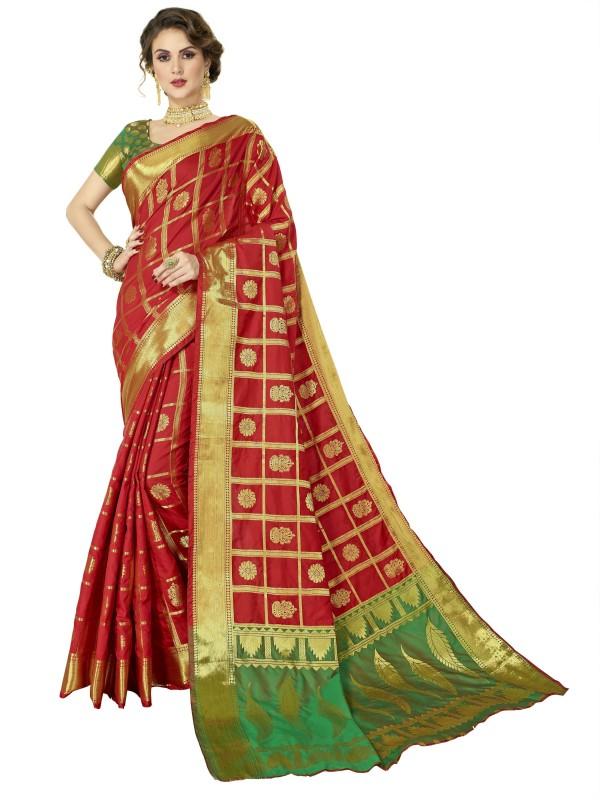 FabTag - Maanushi Saree Woven Patola Cotton Silk Saree(Red, Green)