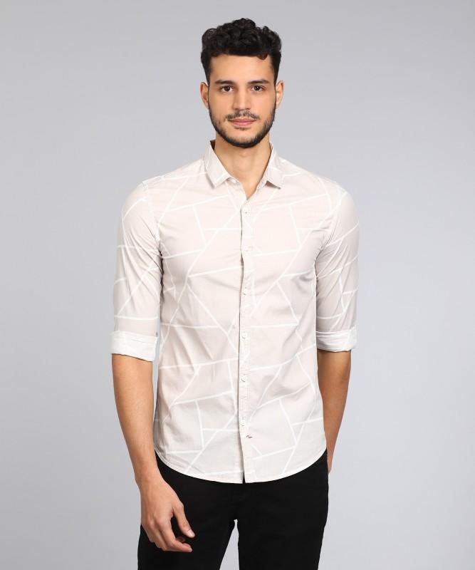 Spykar Mens Printed Casual Beige Shirt