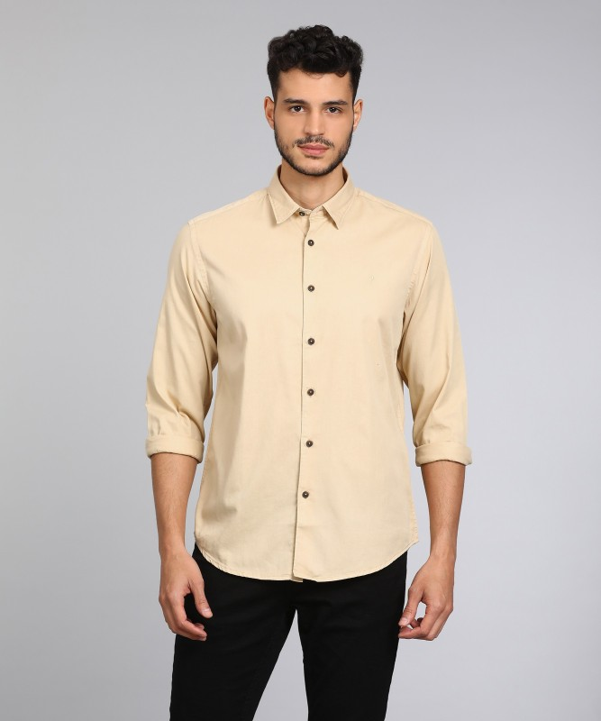 Indian Terrain Men Solid Casual Beige Shirt