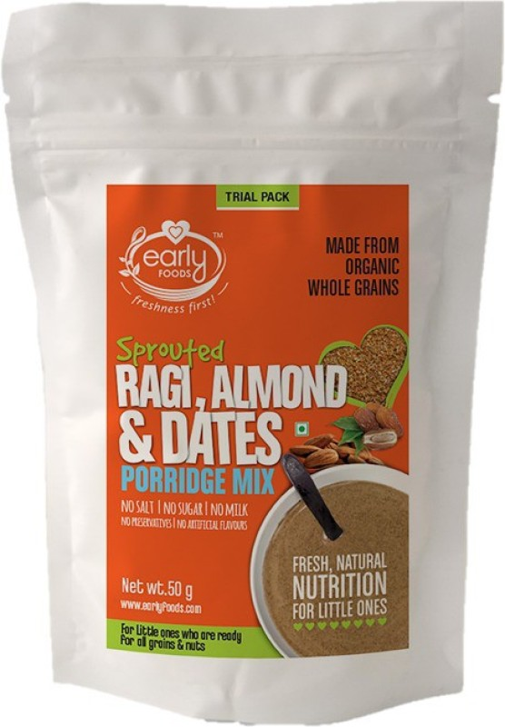 Early Foods (Trial Pack) Organic Sprouted Ragi, Almond & Date Porridge Mix 50g Cereal(50 g, 24+ Months)