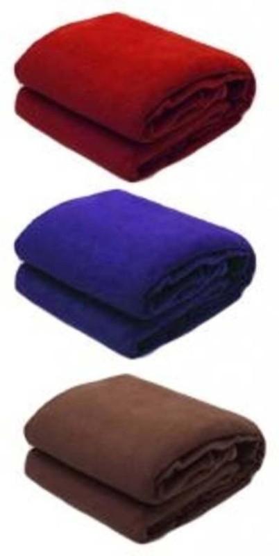 sugandha Solid Single Fleece Blanket(Polyester, Multicolor)