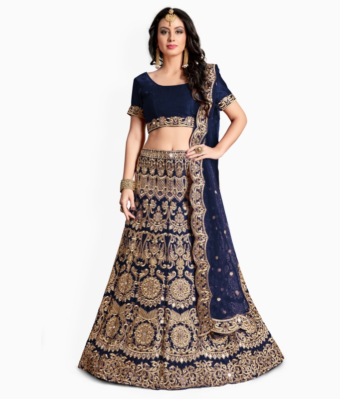 Fabron Embroidered, Embellished Semi Stitched Lehenga, Choli and Dupatta Set(Blue, Gold)