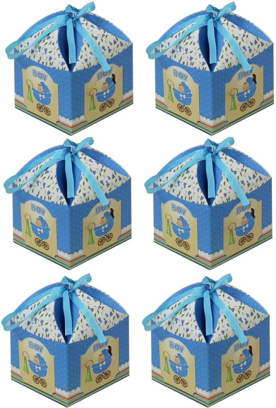 Little Surprise Box Birth Announcement Box Baby Boy (5x15x11cm Pack of 6)(Blue)