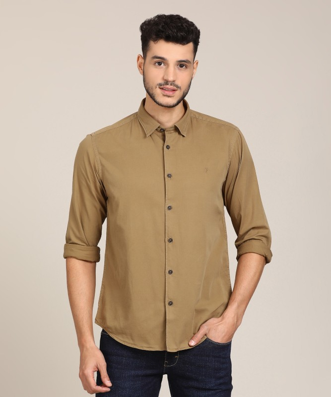 Indian Terrain Mens Solid Formal Brown Shirt