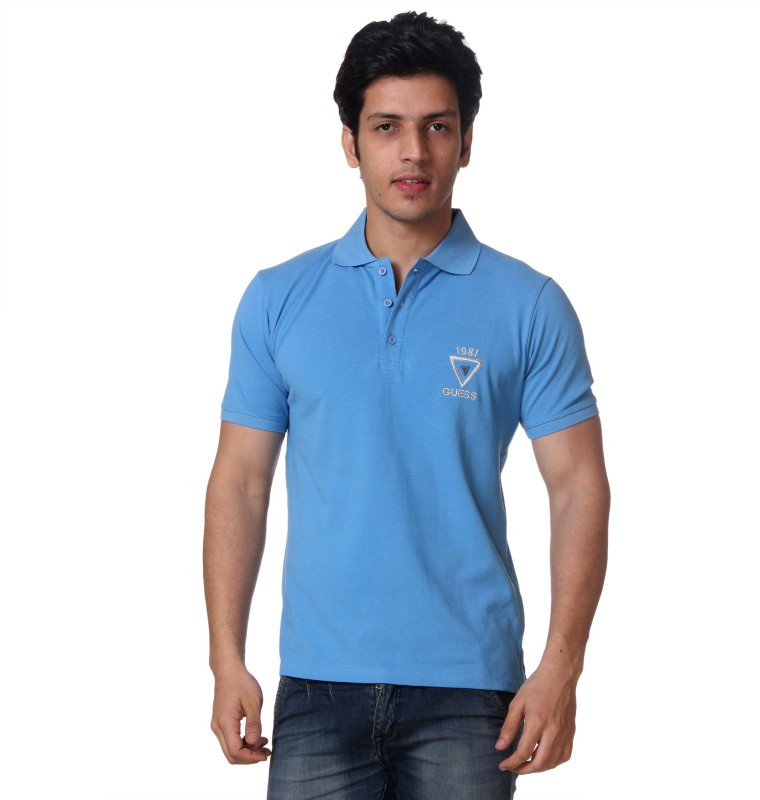 Guess Solid Mens Polo Neck Light Blue T-Shirt
