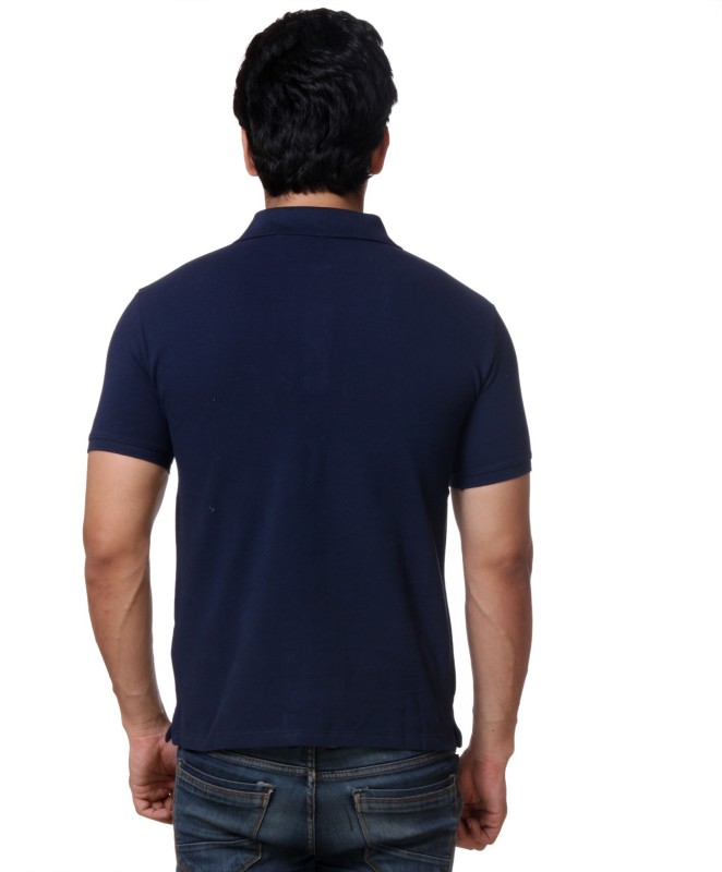 Guess Solid Mens Polo Neck Blue T-Shirt