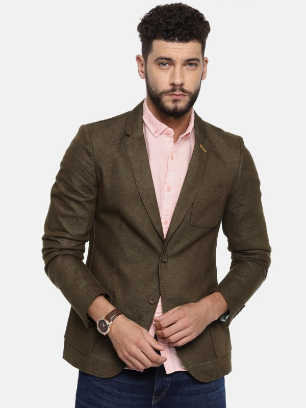 The Indian Garage Co Solid Single Breasted Casual Men's Blazer(Brown)