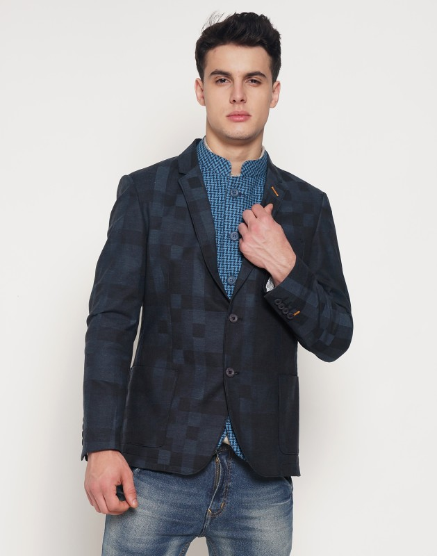 The Indian Garage Co Solid Single Breasted Casual Men's Blazer(Blue)