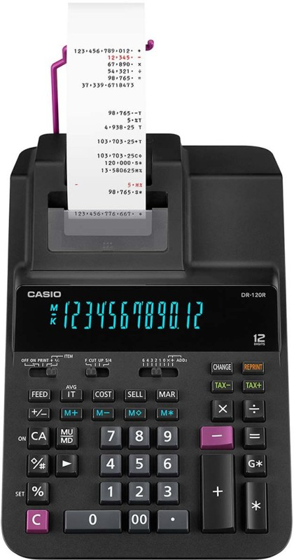 Casio DR-120R-BK Printing  Calculator(12 Digit)