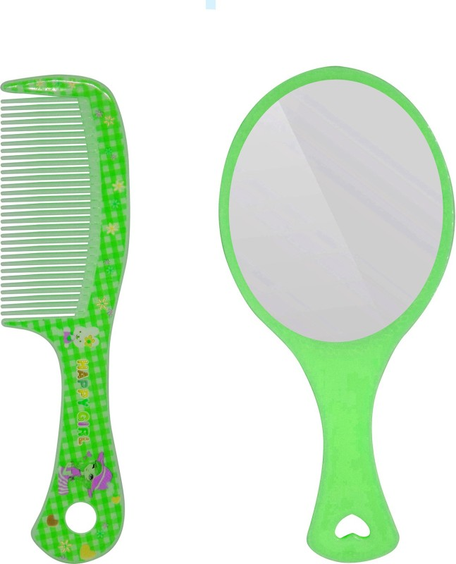 Fully Plastic Handheld Comb And With Mirror For Travel Use, Green(Set of 2)