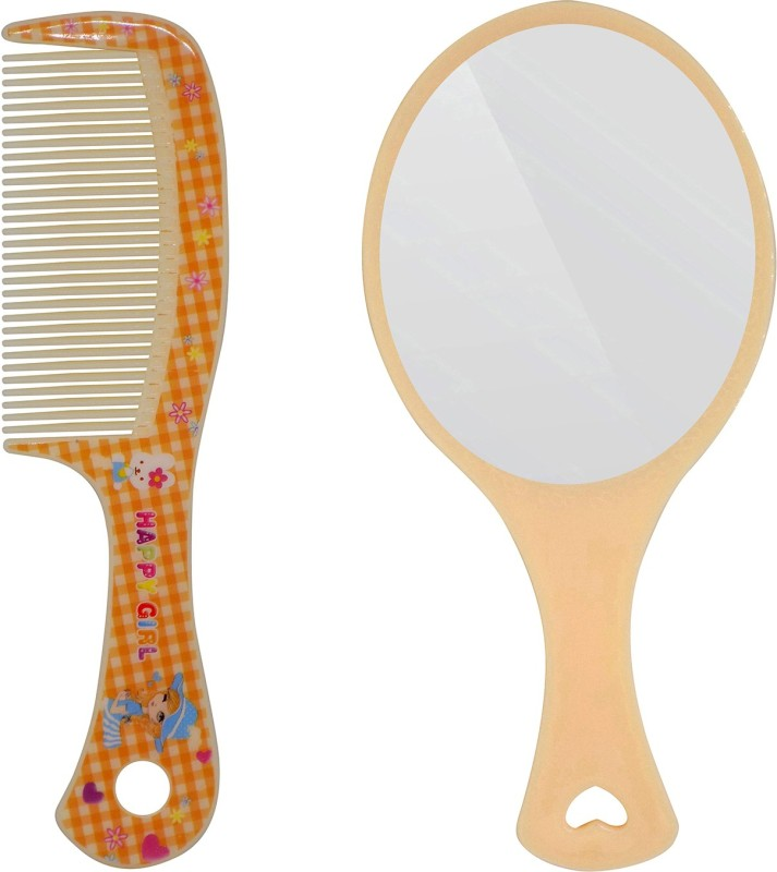 Fully Combo Of Hair Comb And Face Makeup Mirror For Home And Travel Use(Set of 2)