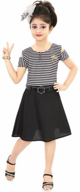NIKUNJ Girls Midi/Knee Length Casual Dress(Black, Half Sleeve)
