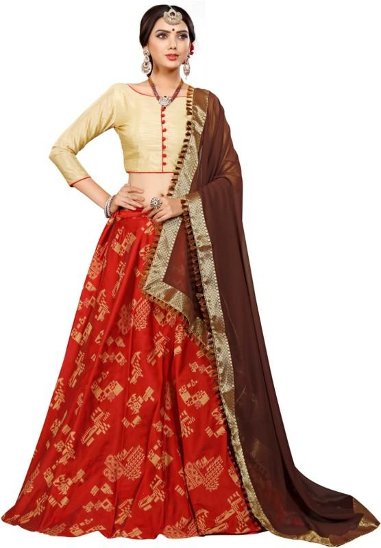 Greenvilla Designs Printed Semi Stitched Lehenga, Choli and Dupatta Set(Red)
