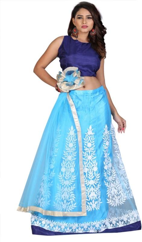 Greenvilla Designs Embroidered Semi Stitched Ghagra, Choli, Dupatta Set(Blue)