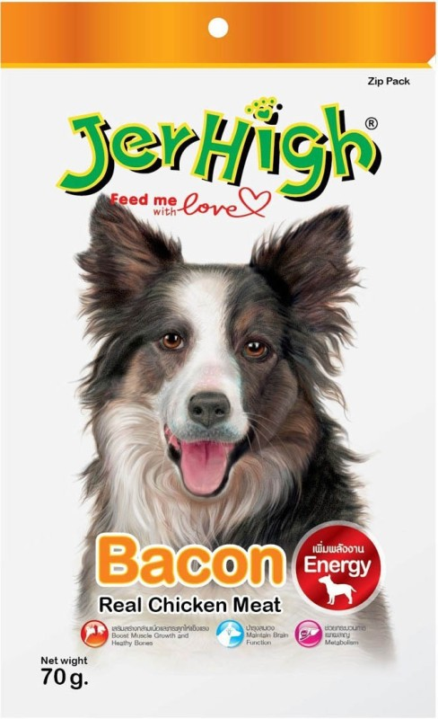JerHigh Bacon Real Chicken Meat Bacon Dog Treat(70 g, Pack of 6)