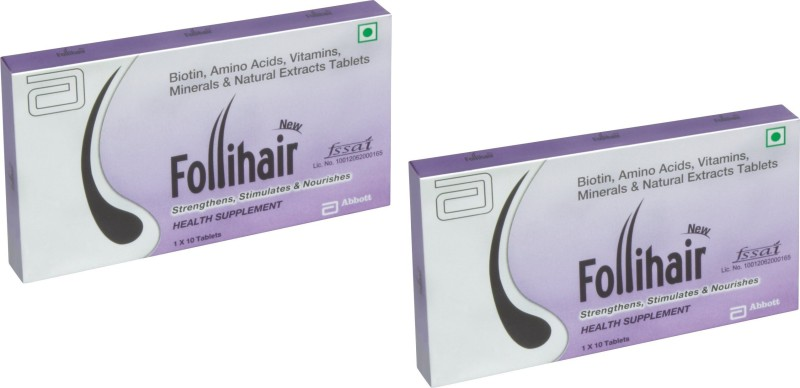 Abbott New Follihair Biotin 10 MG , Amino Acids, Vitamins Minerals & Natural Extracts Strips(20 No)