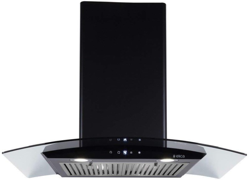 Elica ESCG HAC TOUCH 90 NERO 2F with 2 Baffle Filter, Auto Clean, Wall Mounted Chimney(Black 1100 m/h)