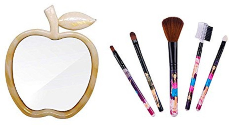 Fully Combo Apple Shape Makeup Mirror With Makeup Brushes For Women And Girls(Set of 6)