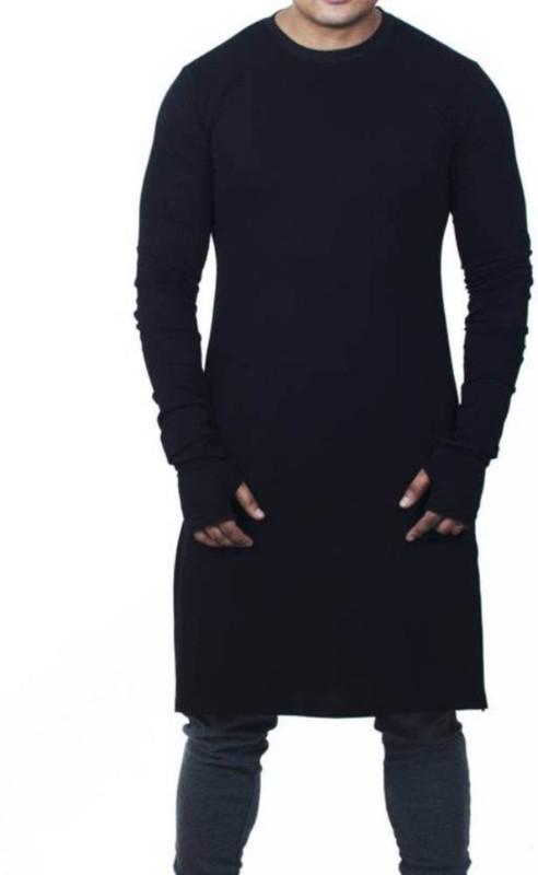 UZEE Men Solid Straight Kurta(Black)