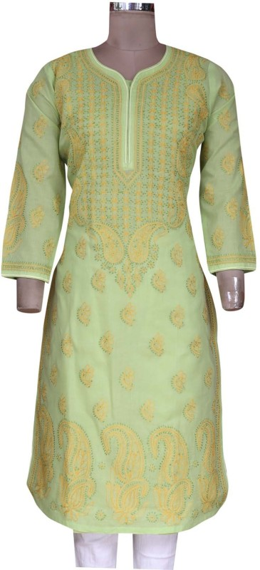 Ada Women Embroidered, Chikan Embroidery Straight Kurta(Green)