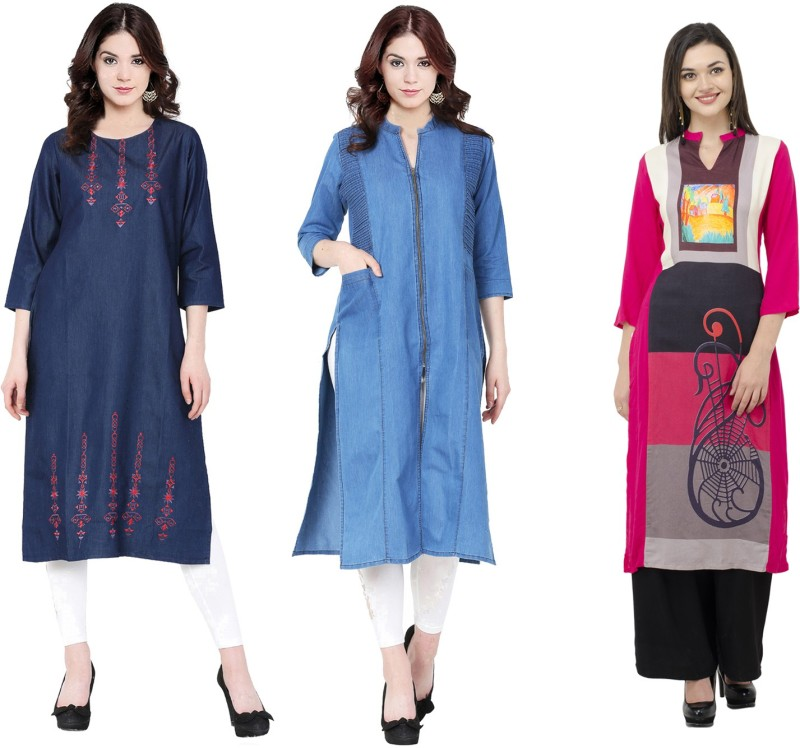 Sparsh Casual Printed Women's Kurti(Pack of 3, Blue, Yellow)