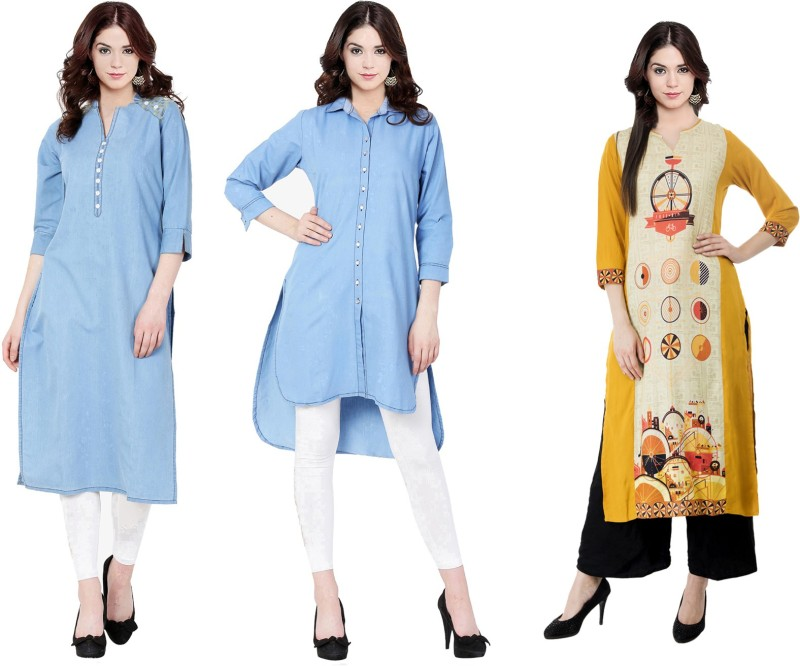 Sparsh Casual Printed Women's Kurti(Pack of 3, Multicolor)