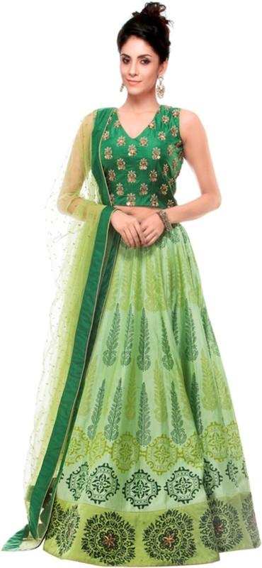 Greenvilla Designs Printed Semi Stitched Ghagra, Choli, Dupatta Set(Light Green)
