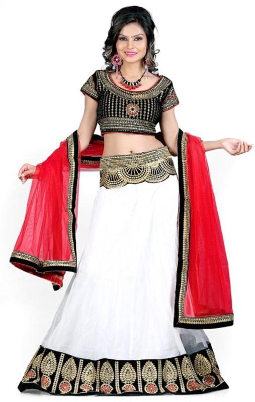 Greenvilla Designs Embroidered Semi Stitched Lehenga, Choli and Dupatta Set(White)
