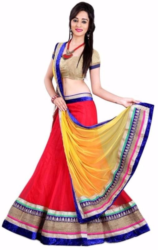 Greenvilla Designs Solid, Printed Semi Stitched Lehenga, Choli and Dupatta Set(Red)