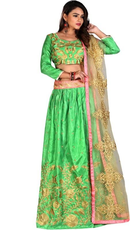Greenvilla Designs Embroidered Semi Stitched Ghagra, Choli, Dupatta Set(Green)