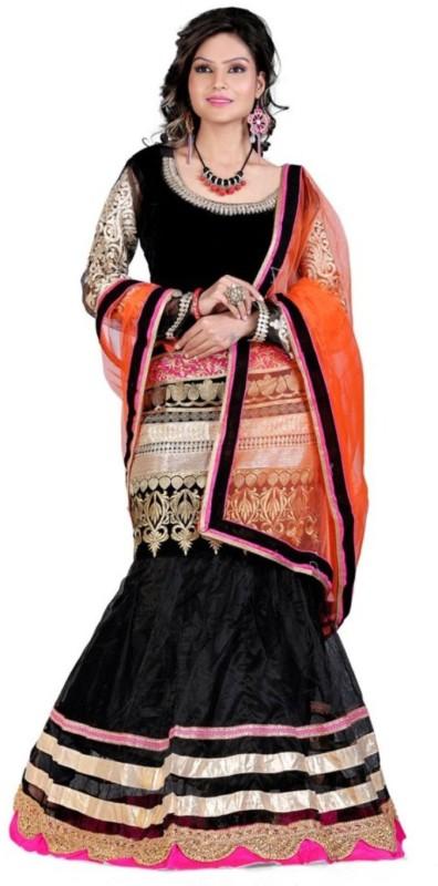 Greenvilla Designs Embroidered Semi Stitched Ghagra, Choli, Dupatta Set(Black)