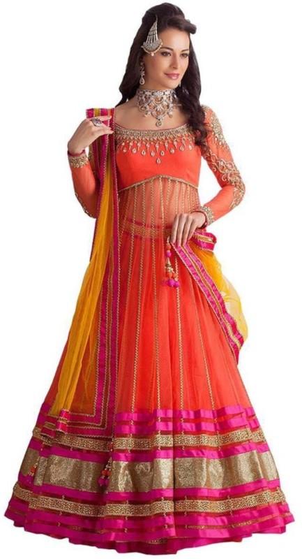 Greenvilla Designs Embroidered Semi Stitched Ghagra, Choli, Dupatta Set(Orange)