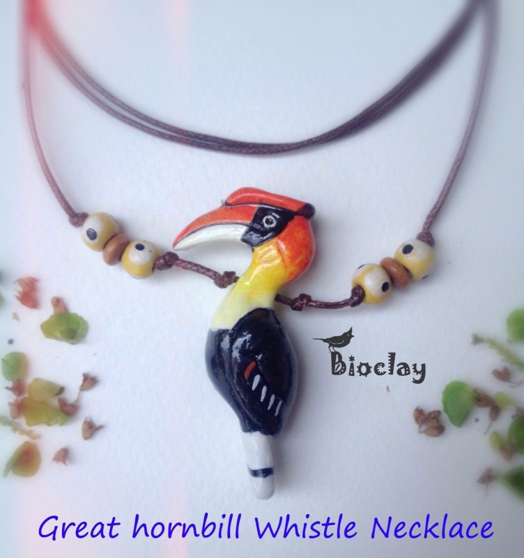 Bioclay Great Hornbill Clay Bird Whistle Necklace Pendant Bioclay Smart Pendant(Black, Yellow, Yellow)