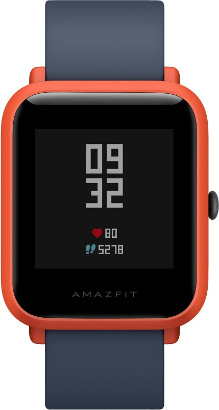 Huami Amazfit Bip Cinnabar Red Smartwatch(Blue Strap Regular)