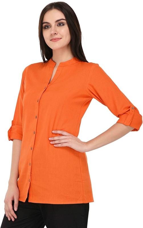 Vastraa Fusion Casual Roll-up Sleeve Solid Women's Orange Top