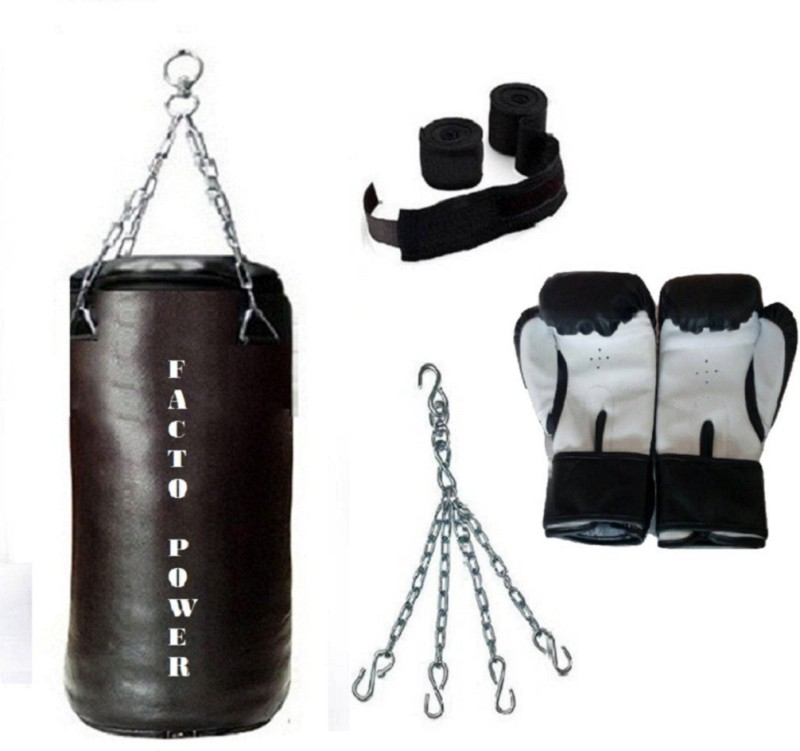 FACTO POWER 4.0 Feet Long, SRF - HEAVY Material, Black Color, Unfilled with Hanging Chain with 9 Feet Long Black Color Hand Wraps Pair & Boxing Gloves Pair Boxing Kit