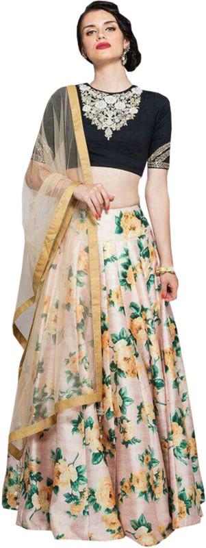 Greenvilla Designs Floral Print Semi Stitched Lehenga, Choli and Dupatta Set(Beige)