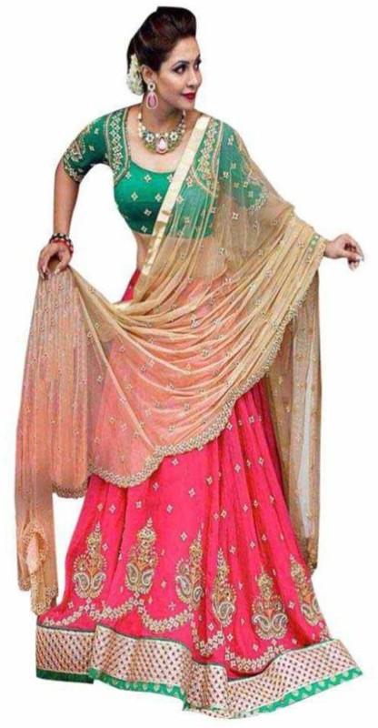 Greenvilla Designs Embroidered Semi Stitched Lehenga, Choli and Dupatta Set(Pink)