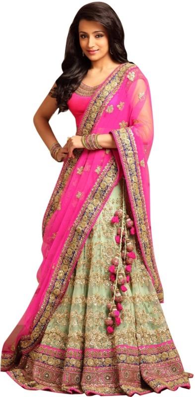Greenvilla Designs Embroidered Semi Stitched Ghagra, Choli, Dupatta Set(Pink)