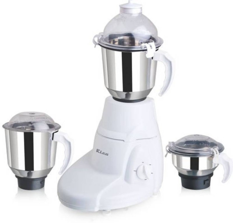 Rico MG-144 Powerful 800 W Motor with 3 SS Jars 800 W Mixer Grinder(White, 3 Jars)