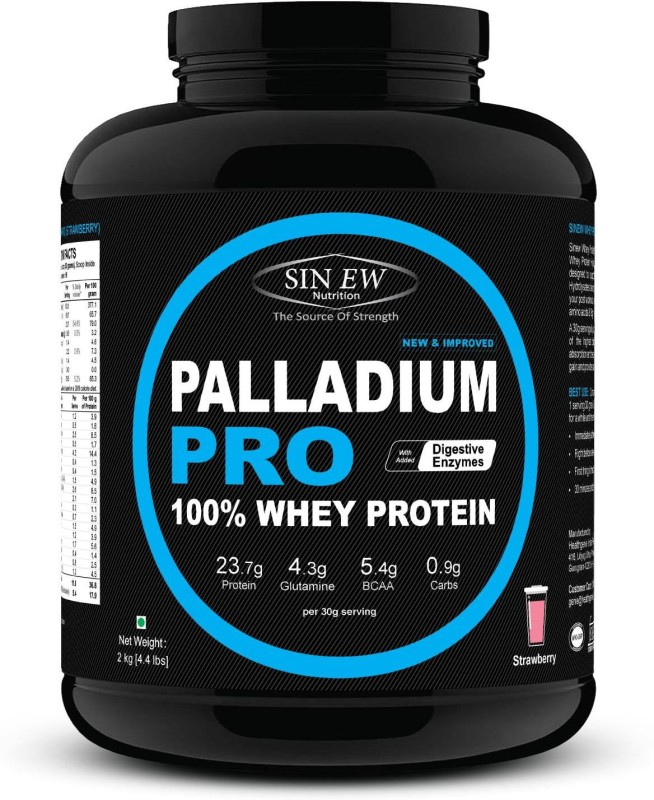 Sinew Nutrition Palladium Pro Whey Protein with Digestive Enzymes, 2kg (Strawberry Flavour) Whey Protein(2 kg, Strawberry)
