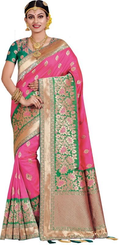 Patang International Woven Banarasi Art Silk Saree(Pink, Green)