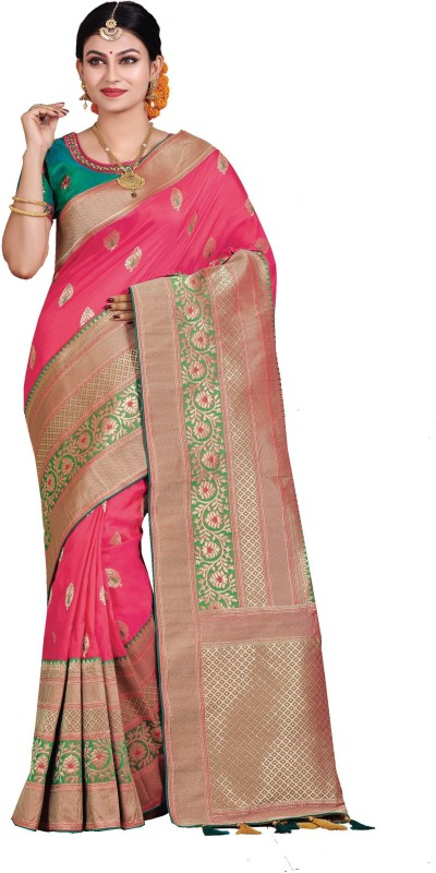 Patang International Woven Banarasi Art Silk Saree(Pink)